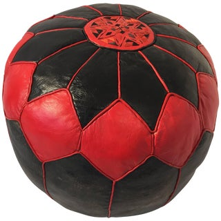 Moroccan Vintage Round Leather Pouf Red and Black For Sale