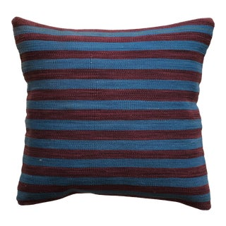 20th Century Turkish Purple and Blue Wool Kilim Pillow - Small