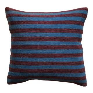 20th Century Turkish Purple and Blue Wool Kilim Pillow - Small