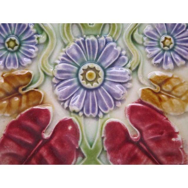 Floral Decorative Colorful Art Nouveau Tiles - Set of 15 For Sale - Image 4 of 10