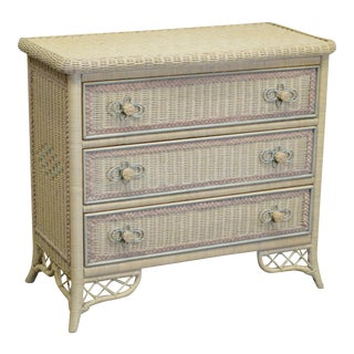 Lexington Henry Link Victorian Style Painted Wicker Chest of Drawers Dresser For Sale