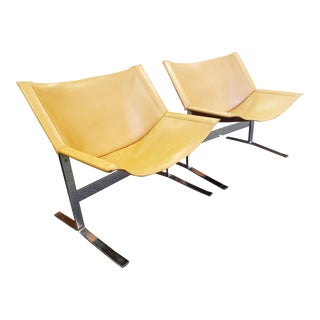 Mid-Century Modern Leather Sling Chairs by Clement Meadmore - a Pair For Sale