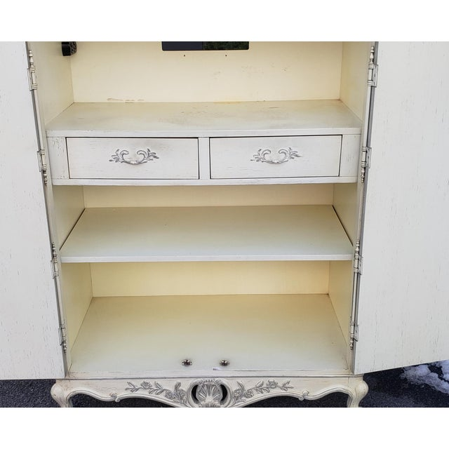 White Painted White Century Furniture French Provincial Double Door Bedroom Tv Armoire Cabinet C1990s For Sale - Image 8 of 12