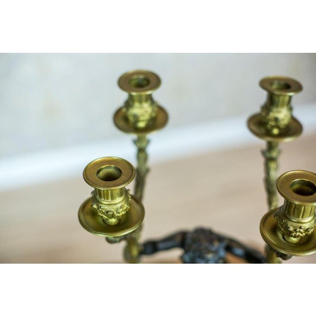 Gold French Mantel Clock Set, Circa 19th Century For Sale - Image 8 of 13