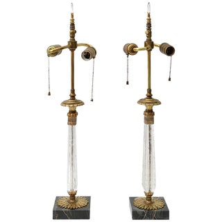 1920s Art Deco Vanity Table Lamps in Crystal, Bronze and Marble - a Pair For Sale