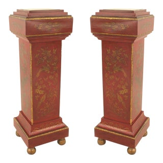 English Regency Style Chinoiserie Pedestals - a Pair For Sale