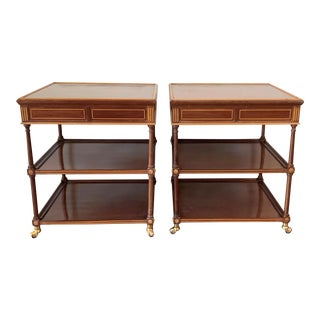 20th Side or Nightstands Tables on Wheels With Two Drawers & Two Shelves - a Pair For Sale