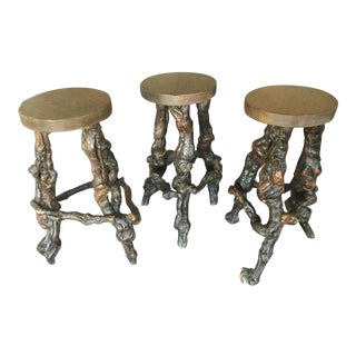 1930s Vintage French Bar Stools- Set of 3 For Sale