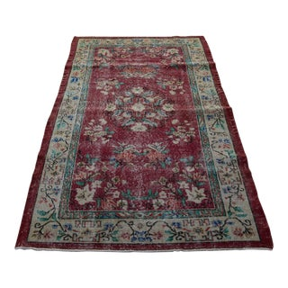Vintage Turkish Floral Handmade Rug For Sale