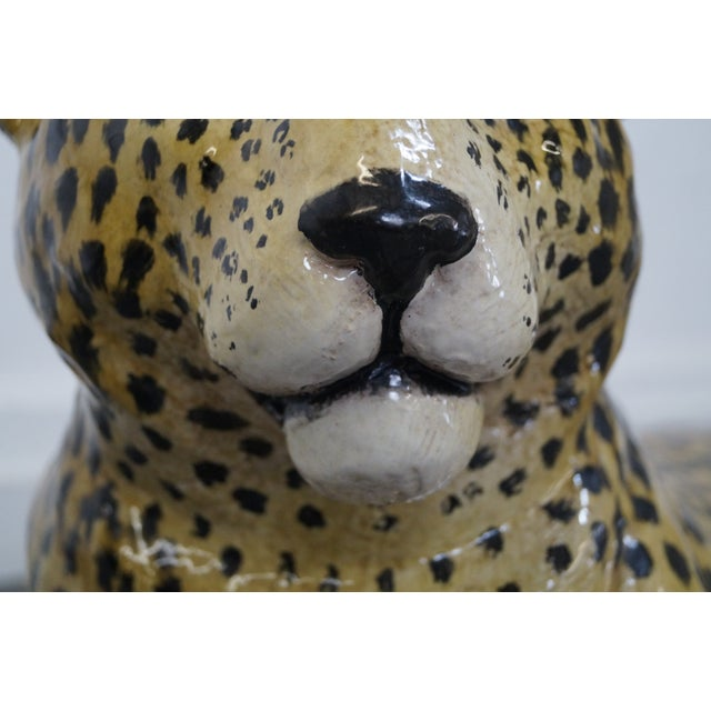 Large Italian Pottery Ceramic Leopard Statue For Sale - Image 9 of 10