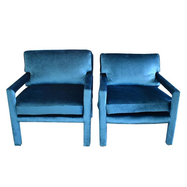 Mid-Century Blue Velvet Open Arm Club Chairs - a Pair in the Style of Milo Baughman For Sale - Image 6 of 9