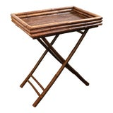 Image of Vintage Bamboo Butler's Tray Table For Sale