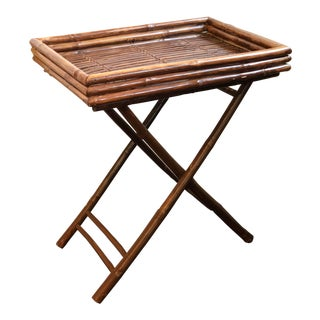Vintage Bamboo Butler's Tray Table For Sale