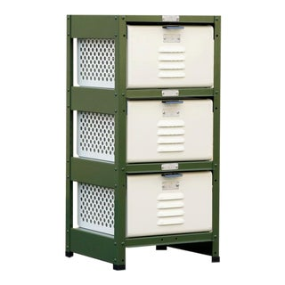 1 X 3 Locker Basket Unit in Army Green and Pearl, Custom Made to Order For Sale