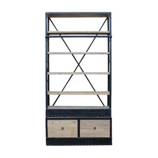 Iron Frame Driftwood Shelves Industrial Bookcase Display Cabinet For Sale