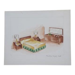Mid-Century Modern Furniture Sketch For Sale
