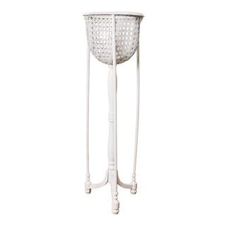 White Wicker Caining Plant Stand For Sale