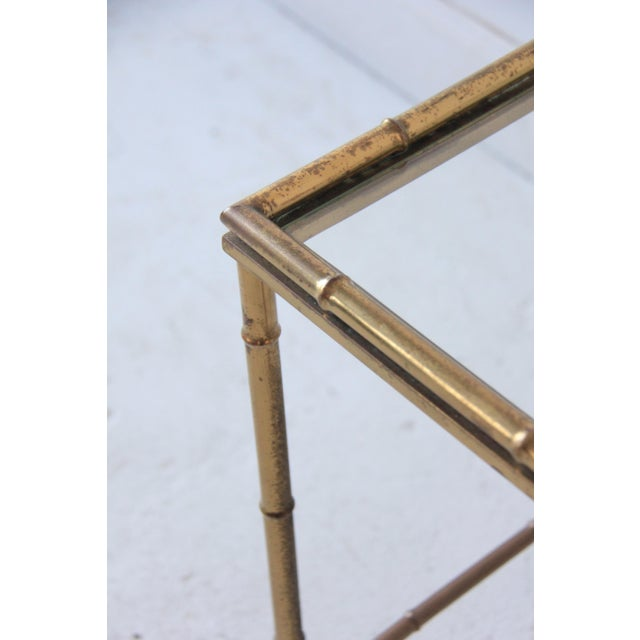 Vintage Brass Faux Bamboo Nesting Tables - Set of 3 For Sale - Image 9 of 9