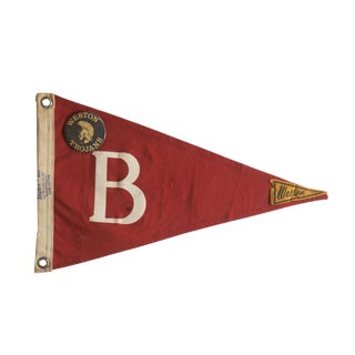 Unusual Vintage B Weston Trojans Felt Flag Pennant