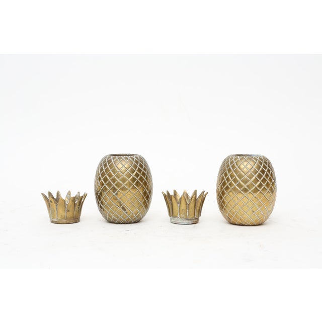 Brass Pineapple Salt & Pepper Shakers - A Pair For Sale - Image 4 of 9