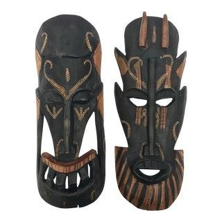 Kenyan Tribal Wall Masks, a Pair