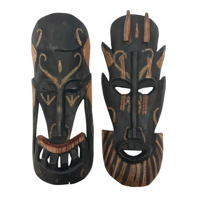 Kenyan Tribal Wall Masks, a Pair For Sale