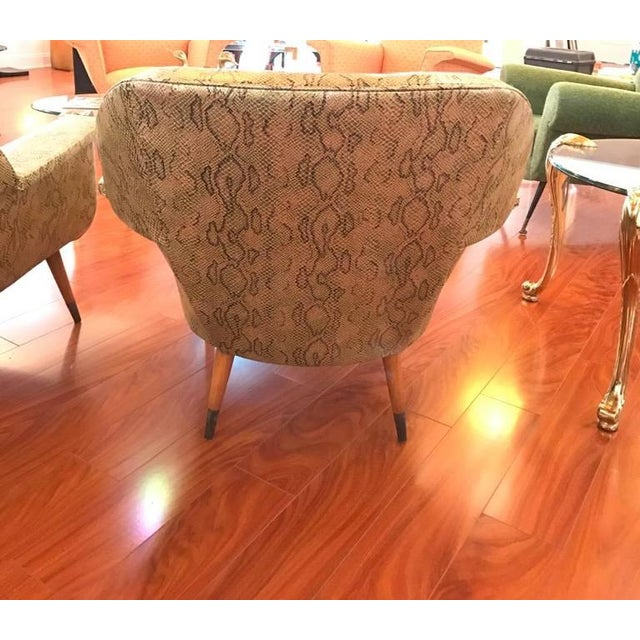 Italian Mid-Century Modern Club Chairs with Faux Snake Skin - A Pair For Sale - Image 9 of 9