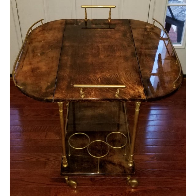 Aldo Tura 1960s Hollywood Regency Aldo Tura Laquered Goat Skin Bar Cart For Sale - Image 4 of 6
