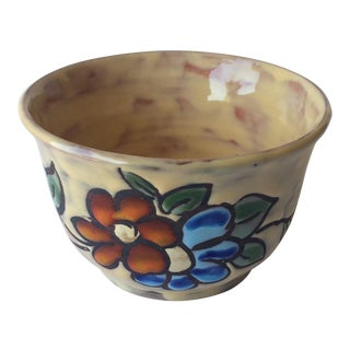 Midcentury Floral Designed Ceramic Bowl Signed Miclay For Sale