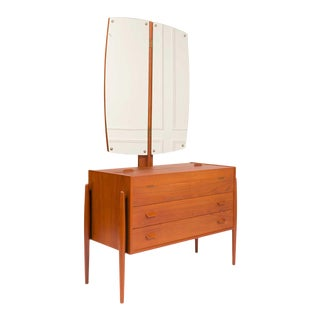 Vintage Danish Mid-Century Teak Vanity / Dresser For Sale