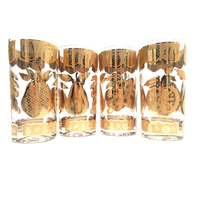 Boho Chic Mid-Century Culver 22k Gold Fruit Tumblers - Set of 8 For Sale - Image 3 of 7