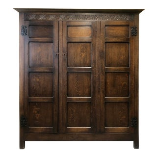 Antique English Oak Wardrobe or Gentleman's Cupboard For Sale