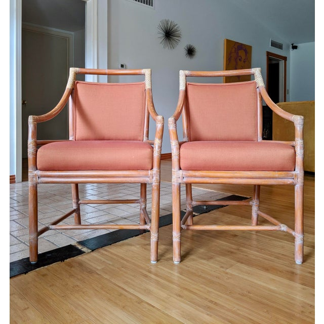 Wood 1970s Vintage McGuire Rattan Armchairs- Set of 4 For Sale - Image 7 of 12