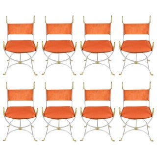 Maison Jansen, Set of Eight Chairs in Orange Suede and Brass With Swan Details For Sale