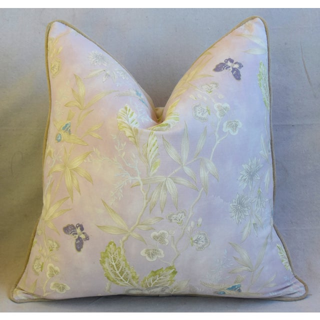 """Pale Lavender Wildflower & Butterfly Linen Feather/Down Pillows 23"""" Square - Pair For Sale In Los Angeles - Image 6 of 13"""