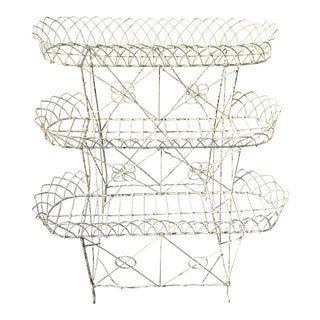 Victorian Era 3 Tier French Wire Plant Stand For Sale