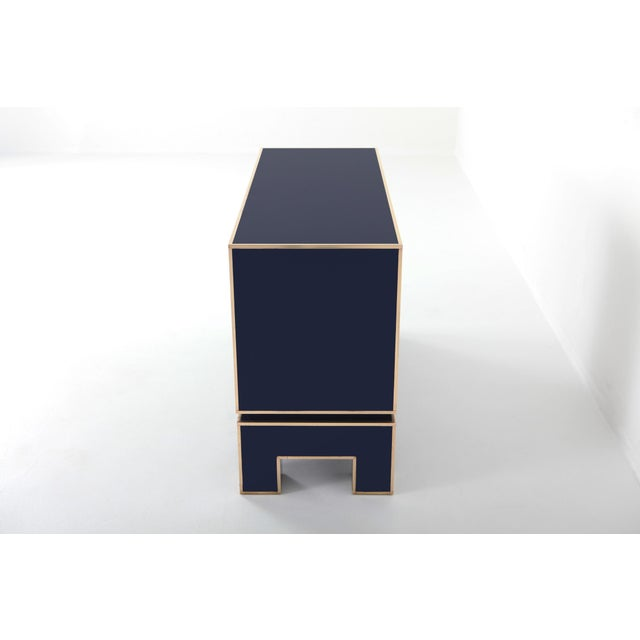 Hollywood Regency Brass and Blue Two-Door Cabinet Maison Jansen For Sale - Image 3 of 12