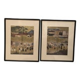 Image of Mid-century Asian Framed Prints - a Pair For Sale