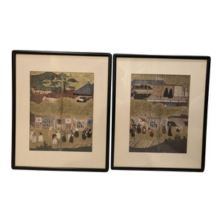 Mid-Century Asian Framed Prints - a Pair For Sale