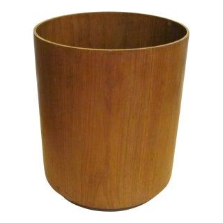 Vintage Mid Century Jens Risom Inc Teak and Plastic Wastebasket For Sale