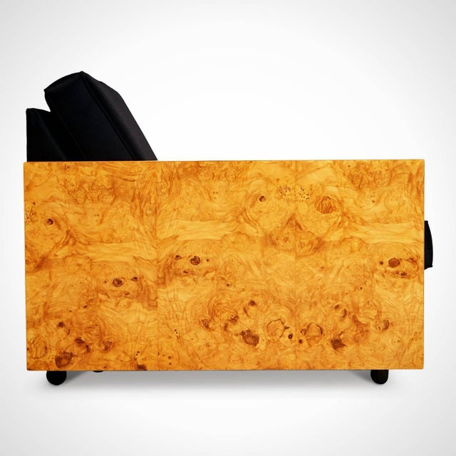 Milo Baughman 1970s Vintage Burl Wood Case Sofa and Lounge Chair by Milo Baughman For Sale - Image 4 of 11