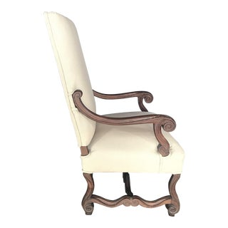 Antique French Walnut Louis XV Arm Chair - Reupholstered For Sale