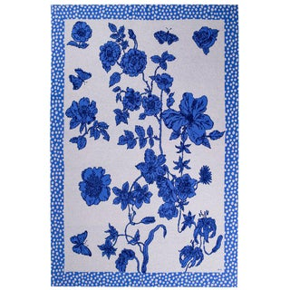Je Suis Ta Fleur Blue Cashmere Blanket, Queen For Sale