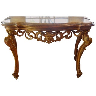 18th Century Venetian Gilt Wood Console Table With Marble Top For Sale
