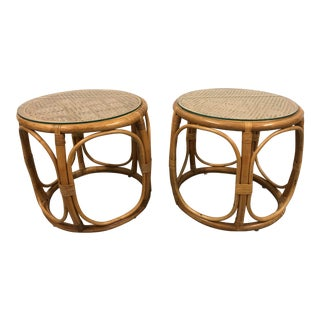 Rattan and Cane Drum Table Stools - a Pair For Sale