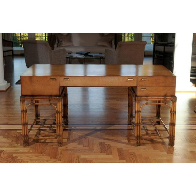 Maple Stunning Restored Vintage Double Pedestal Campaign Desk in Birdseye Maple For Sale - Image 7 of 11