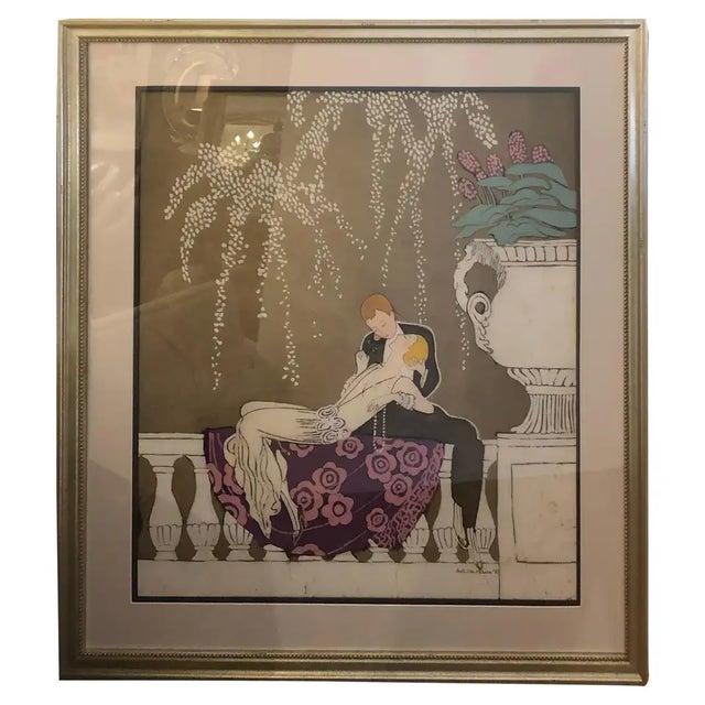 1980s Art Nouveau Batik of Lovers, Framed For Sale - Image 9 of 9