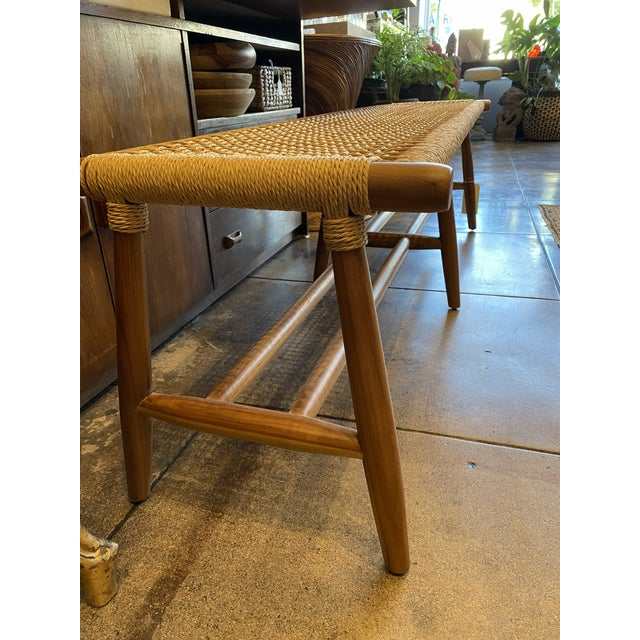 Mid-Century Modern Woven Cord and Teak Bench For Sale - Image 3 of 10