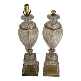 1940s Baccarat Crystal Table Lamps by Paul Hanson - a Pair For Sale