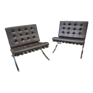 1970s Vintage Knoll Stainless Steel Barcelona Chairs- A Pair For Sale